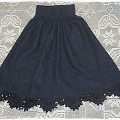 Одежда ручной работы. Ярмарка Мастеров - ручная работа Теплая юбочка  из сукна с вышивкой ришелье(ПРОДАНО). Handmade.