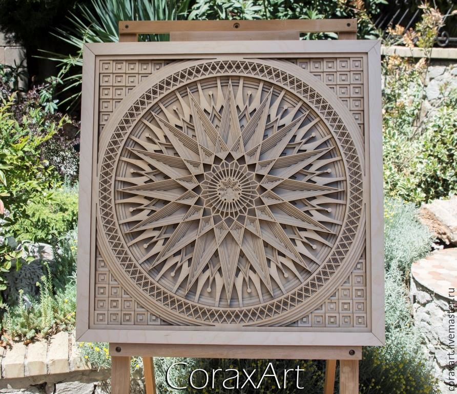 Coraxart Wood Wall Art Mandala 2 Panel