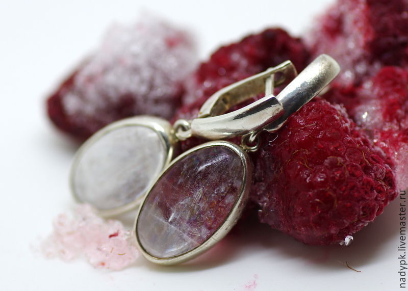 Earrings with natrolite 'Ice', silver, natrolite, Earrings, Moscow,  Фото №1
