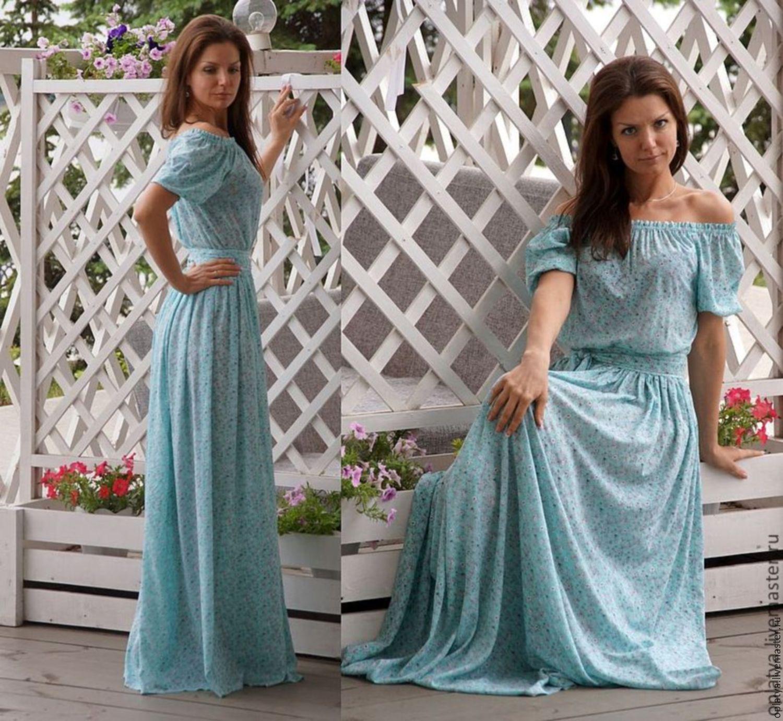 Длинное платье в пол на резинке