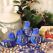 Подарки к праздникам ручной работы. Ярмарка Мастеров - ручная работа Синие птицы. Синий набор игрушек на елку.. Handmade.