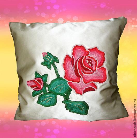 Текстиль, ковры ручной работы. Ярмарка Мастеров - ручная работа. Купить Подушка декоративная вышитая Роза. Handmade. Подушка, роза