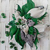 """Украшения ручной работы. Ярмарка Мастеров - ручная работа Брошь-цветок """"Зеленый акцент"""". Handmade."""