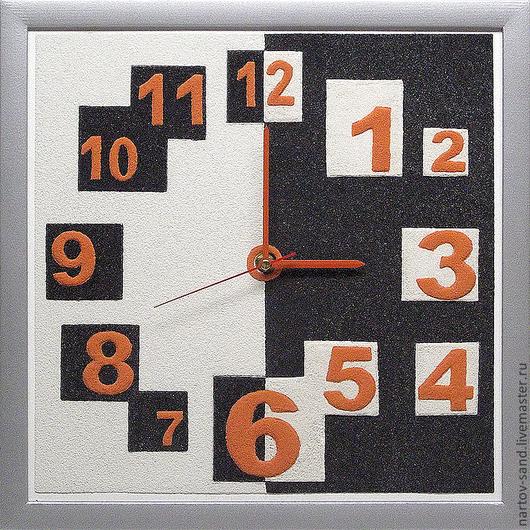 """Часы для дома ручной работы. Ярмарка Мастеров - ручная работа. Купить """"ГЕОМЕТРИЯ"""" из песка часы авторские. Handmade. Чёрно-белый"""