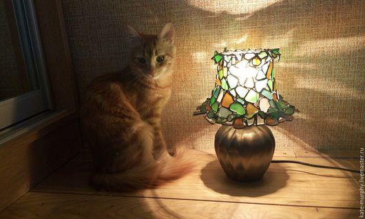 """Освещение ручной работы. Ярмарка Мастеров - ручная работа. Купить Мини-лампа """"Витражные рюшики"""". Handmade. Комбинированный, морское стекло"""