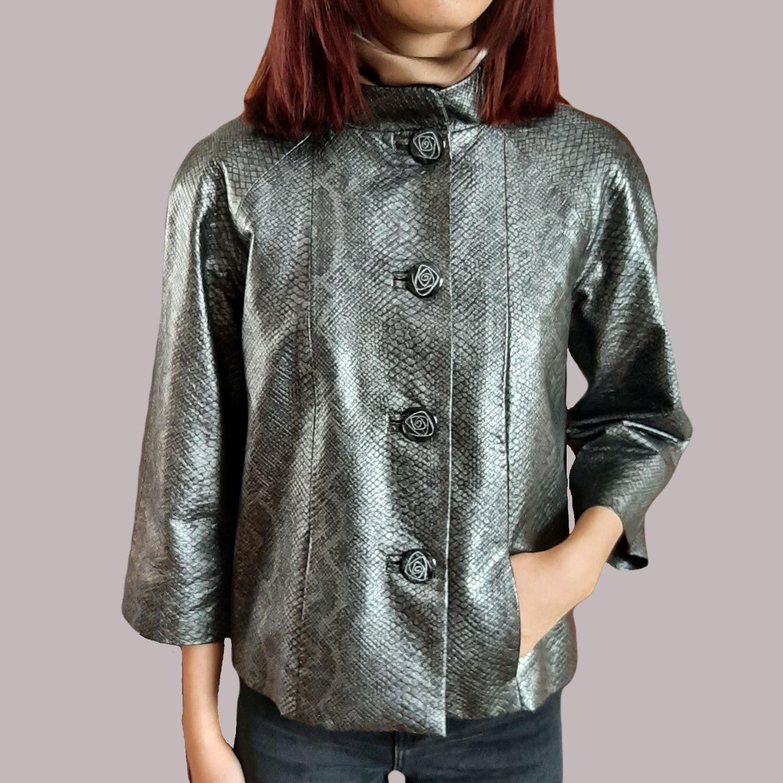 Куртка женская демисезонная из натуральной кожи под питона, Куртки, Брянск,  Фото №1