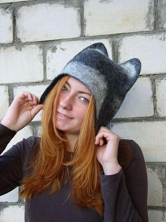 """Банные принадлежности ручной работы. Ярмарка Мастеров - ручная работа. Купить Шапка """"Кошка"""" шапка с ушками серая шапочка. Handmade."""