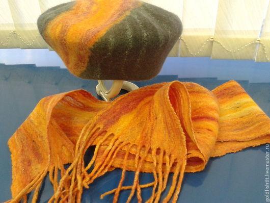 """Береты ручной работы. Ярмарка Мастеров - ручная работа. Купить Валяный берет и шарф """"Луч надежды"""". Handmade."""