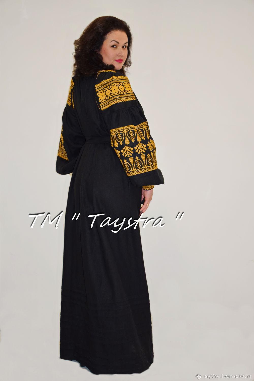 Order Black Dress Gold Embroidery Ethno Style Boho Chic