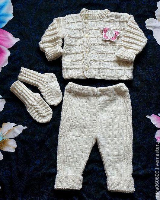 Одежда ручной работы. Ярмарка Мастеров - ручная работа. Купить Комплект для девочки. Handmade. Белый, вязание на заказ, штанишки, осень