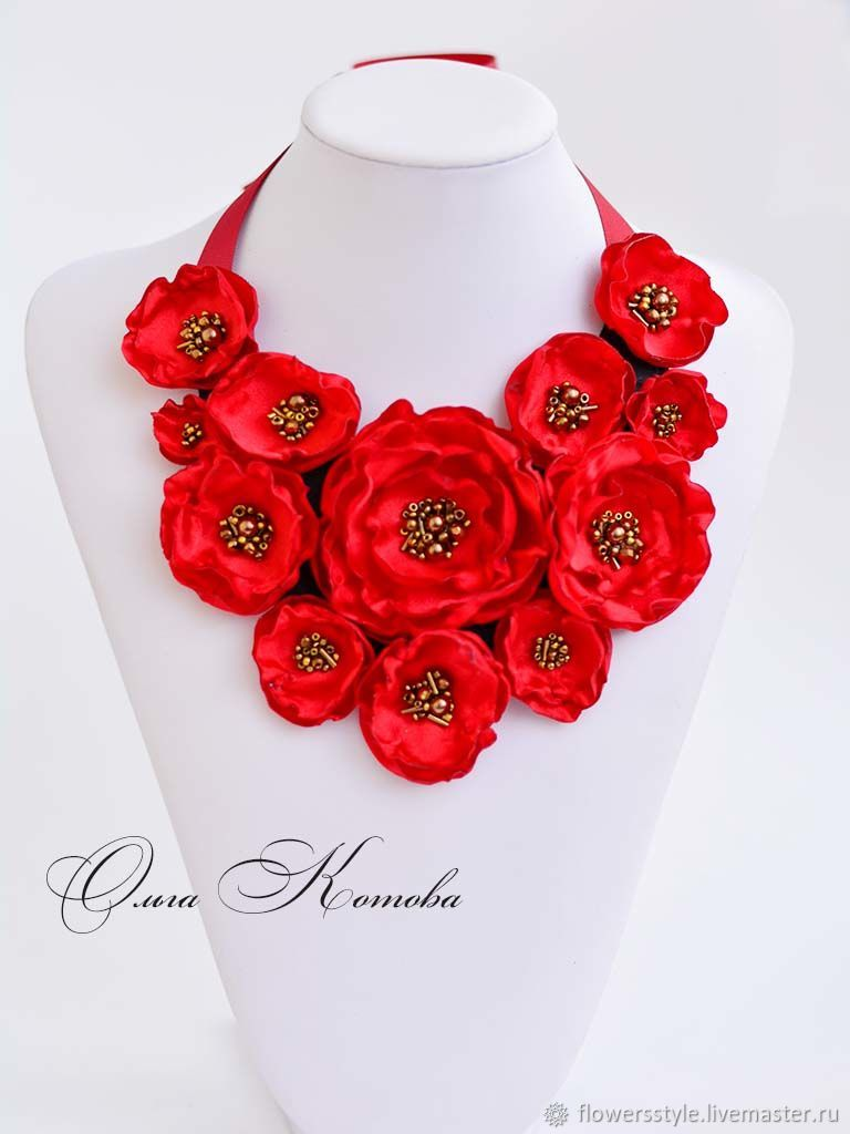 Necklace of Red fabric charm Necklace of flowers fabric Flowers, Necklace, Kursk,  Фото №1