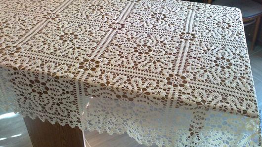 на фото размер скатерти 150*190 см на столе размером 90*165 см исполнение пряжей Vita cotton pelican цвет 3993