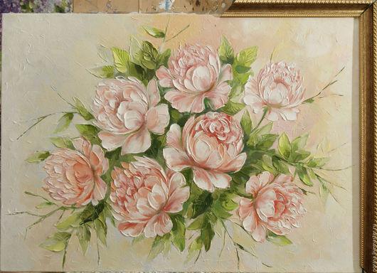 Картины цветов ручной работы. Ярмарка Мастеров - ручная работа. Купить розовые пионы. Handmade. Комбинированный, картина, картина маслом