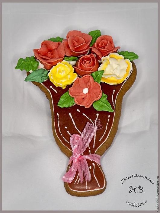 Кулинарные сувениры ручной работы. Ярмарка Мастеров - ручная работа. Купить Пряничный букет. Handmade. Букет, розы, ваниль
