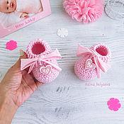 Работы для детей, handmade. Livemaster - original item knitted booties loafers for girls desks pink knitted booties. Handmade.