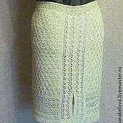 Одежда ручной работы. Ярмарка Мастеров - ручная работа Нарядная вязаная прямая юбка   с   подкладом золото. Handmade.