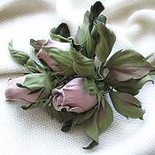 Украшения handmade. Livemaster - original item Leather flowers. Decoration brooch pin ROSE BUDS .. Handmade.