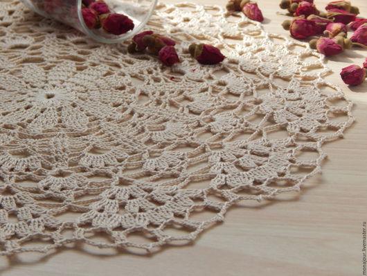 Текстиль, ковры ручной работы. Ярмарка Мастеров - ручная работа. Купить Салфетка вязаная крючком. Handmade. Бежевый, салфетка круглая