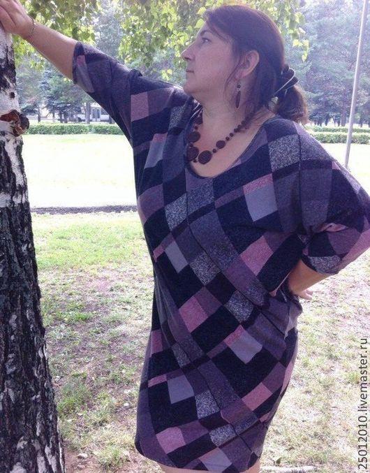 Платья ручной работы. Ярмарка Мастеров - ручная работа. Купить Платье ромбики.. Handmade. Коричневый, большие размеры, платье зимнее