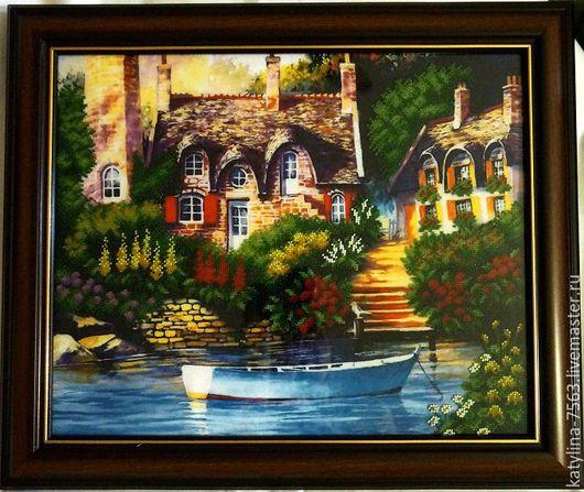 """Пейзаж ручной работы. Ярмарка Мастеров - ручная работа. Купить Картина """"Сказочный пейзаж"""". Handmade. Комбинированный, картина бисером, картина"""