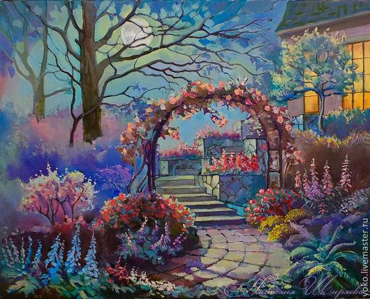 """Пейзаж ручной работы. Ярмарка Мастеров - ручная работа. Купить """"Сад Полной Луны"""" картина маслом. Handmade. Фиолетовый"""