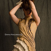 """Одежда ручной работы. Ярмарка Мастеров - ручная работа Платье из мериносовой шерсти и шелка """" La vanilla"""". Handmade."""