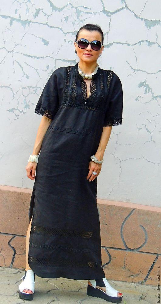 Платья ручной работы. Ярмарка Мастеров - ручная работа. Купить Льняное макси платье прямого кроя (№183). Handmade. Черный