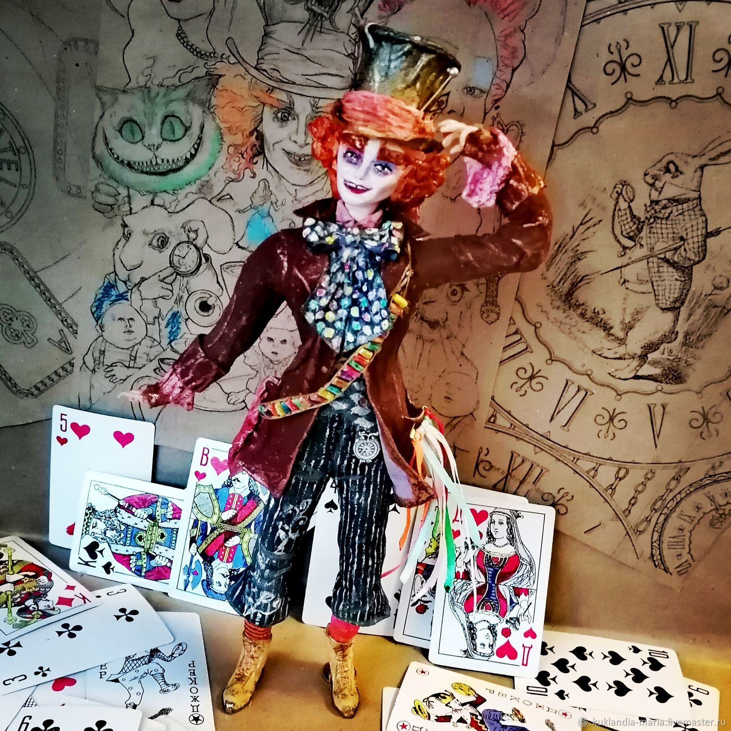 Mad Hatter Cotton Wool Collectible Interior Toy, Interior doll, St. Petersburg,  Фото №1