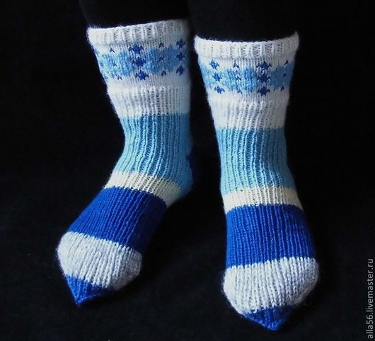 """Носки, Чулки ручной работы. Ярмарка Мастеров - ручная работа. Купить Носочки """"Синяя метель"""". Handmade. Белый, Вязание на спицах"""
