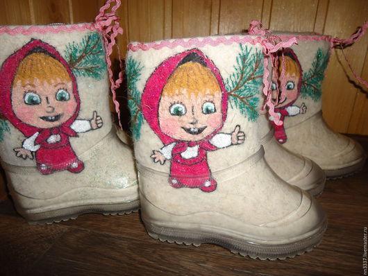 """Обувь ручной работы. Ярмарка Мастеров - ручная работа. Купить Валенки детские """"Маша"""". Handmade. Белый, валенки с рисунком"""