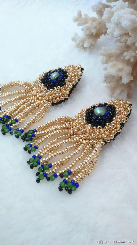 Golden peacock beaded poussette earrings, Stud earrings, Podolsk,  Фото №1