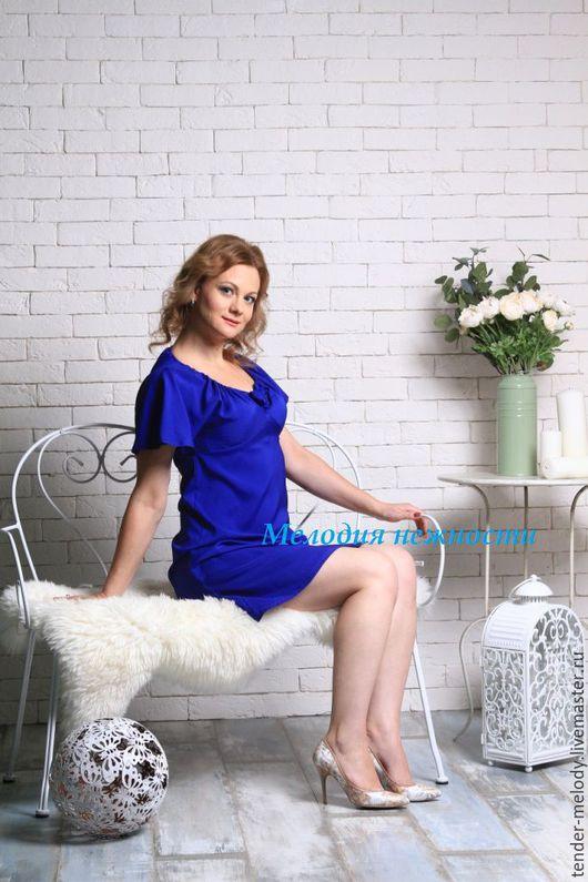 """Платья ручной работы. Ярмарка Мастеров - ручная работа. Купить """"Шёпот моря"""" атласное синее платье. Handmade. Тёмно-синий"""