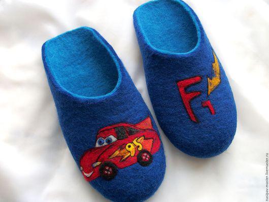 """Обувь ручной работы. Ярмарка Мастеров - ручная работа. Купить Войлочные тапочки """"Тачки"""". Handmade. Тёмно-синий, тапочки валяные"""