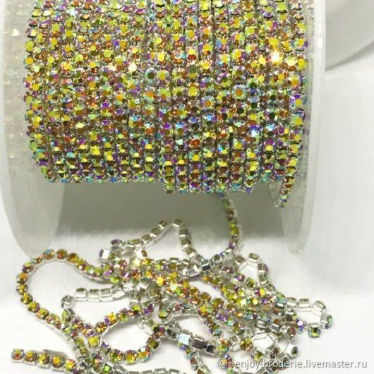 Стразовая лента золотая в серебре АВ, 2 мм, 10 см, Кристаллы, Санкт-Петербург,  Фото №1