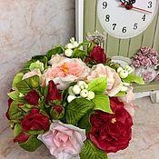 Цветы и флористика ручной работы. Ярмарка Мастеров - ручная работа Букет с красными английскими розами. Handmade.