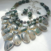Украшения handmade. Livemaster - original item Necklace 3 strands and Earrings - MOSS AGATE beads.. Handmade.