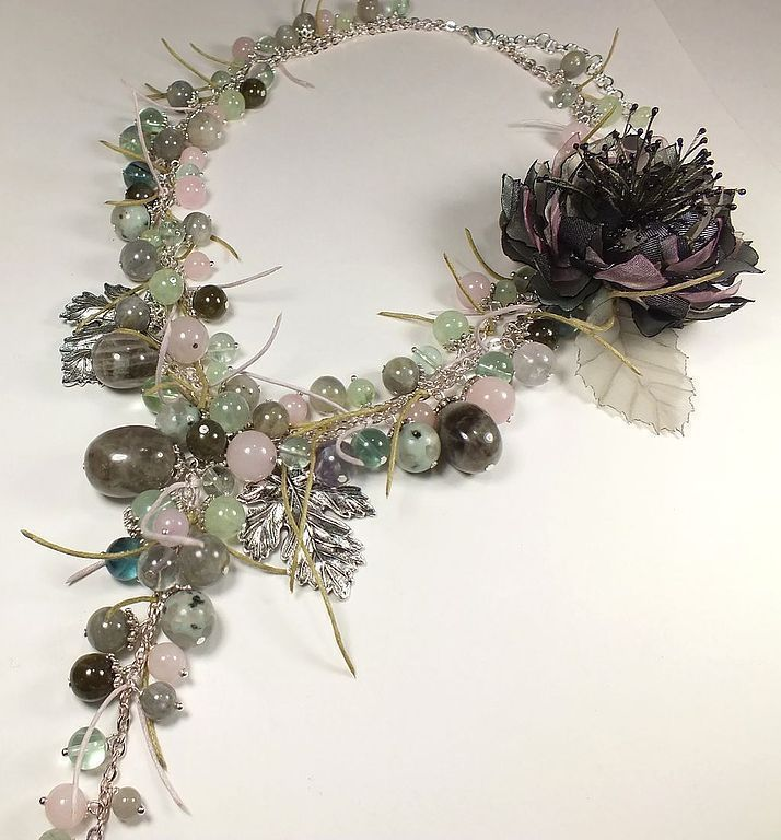 Whisper Of Morning Mist. Necklace, brooch fabric flower. kit, Jewelry Sets, St. Petersburg,  Фото №1