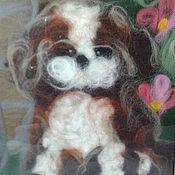 Картины ручной работы. Ярмарка Мастеров - ручная работа Картины: собачка шерстью. Handmade.