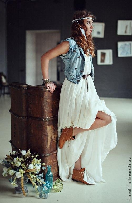 Платья ручной работы. Ярмарка Мастеров - ручная работа. Купить Платье-бохо. Handmade. Бежевый, платье с открытой спиной, марлёвка