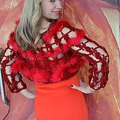 Одежда ручной работы. Ярмарка Мастеров - ручная работа Болеро вязаное крючком  Красный королевский пух. Handmade.
