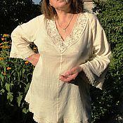 Одежда handmade. Livemaster - original item Summer blouse with lace. Handmade.