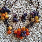 Винтаж handmade. Livemaster - original item Necklace and earrings lampwork