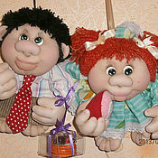 Куклы и игрушки ручной работы. Ярмарка Мастеров - ручная работа Текстильные куколки-попики Сладкая парочка. Handmade.