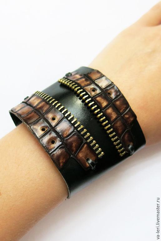 """Браслеты ручной работы. Ярмарка Мастеров - ручная работа. Купить Кожаный браслет """"Молниеносная змея"""". Handmade. Черный, змея"""