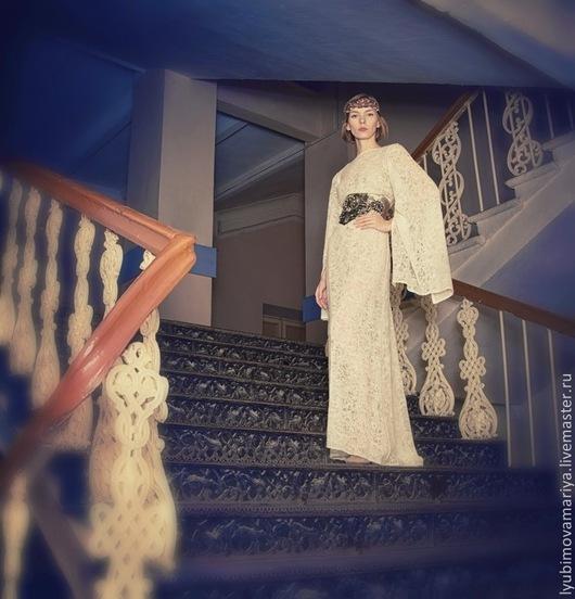 Платья ручной работы. Ярмарка Мастеров - ручная работа. Купить Платье из тонкого шерстяного кружева. Handmade. Бежевый, вышивка