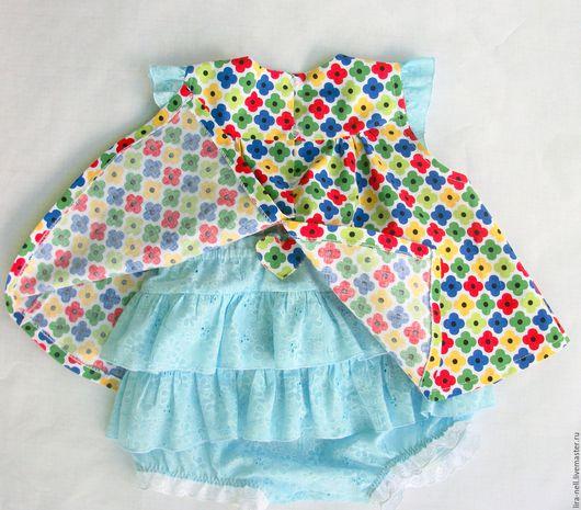 """Одежда для девочек, ручной работы. Ярмарка Мастеров - ручная работа. Купить Комплект """"Озорница"""". Handmade. Голубой, блумеры, Пуговицы пластиковые"""