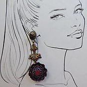 handmade. Livemaster - original item Long flower earrings made of polymer clay. Handmade.