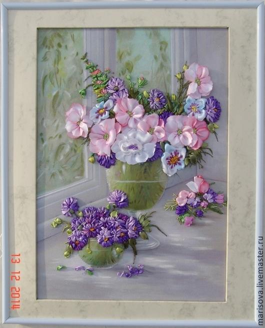 """Картины цветов ручной работы. Ярмарка Мастеров - ручная работа. Купить Картина лентами """"Утро в пастельных тонах"""". Handmade."""