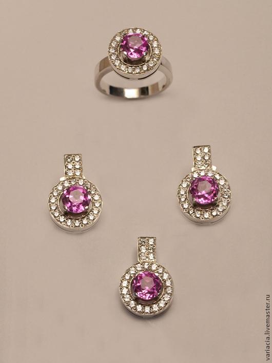Комплекты украшений ручной работы. Ярмарка Мастеров - ручная работа. Купить Комплект в серебре с розовым рубином и цирконами. Handmade.