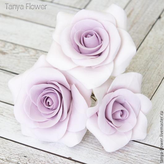 Заколки ручной работы. Ярмарка Мастеров - ручная работа. Купить Набор шпилек с розами - Сиреневые (3 шт). Handmade.